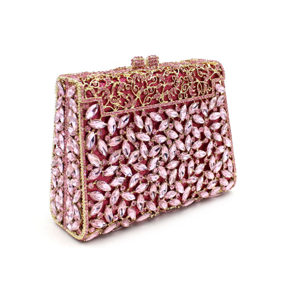 women Gift Box Packed gold Evening Bag ladies pink day clutches female Prom party purple handbags wedding bridal clutch wallets