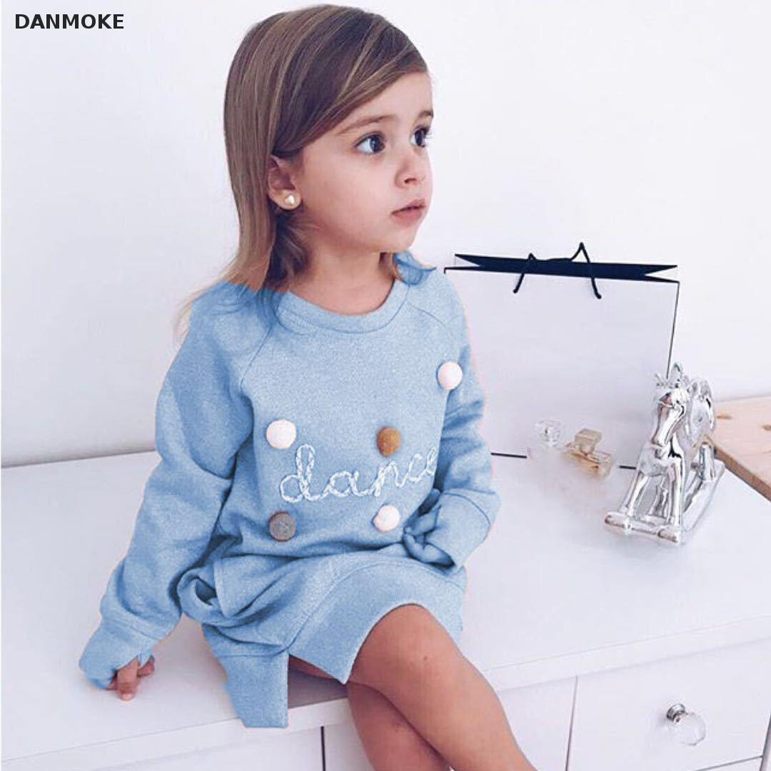 Danmoke 2018 Autumn Winter Cartoon Letter Embroidery Sweatshirt Girl Fashion Long Hoodie Dress Pullover Moletom Feminina