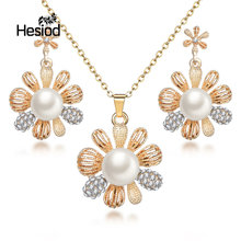 Hesiod 2018 New Crystal Jewelry Set for Women Silver and Rose Gold Color Flower Pendant/Earrings Sets Imitation Pearl(China)