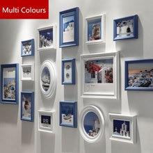 Multi Colours 16 pcs Wooden Photo Frame Set,Mediterranean Style Porta Retrato Creative DIY Wall Picture Frames Home Decoration