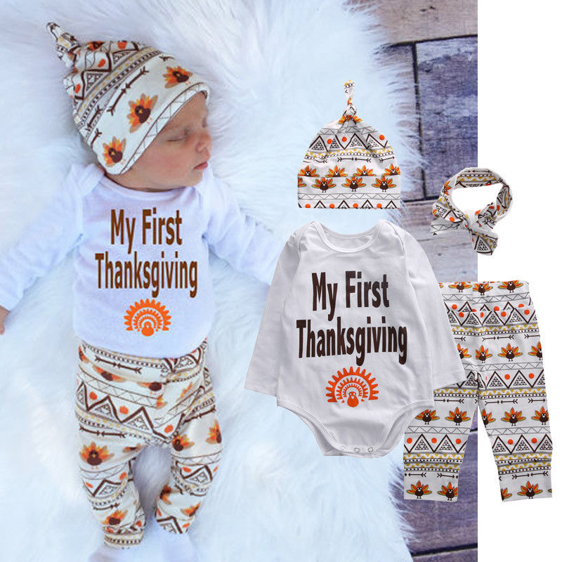 Infant Baby Boy My First Thanksgiving Romper Pants Hat Cotton Outfit Clothes Set