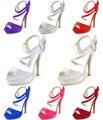 Summer New Sandals  SP1407P Peep Toe Rhinestone Platform high Heel Ankle Strap Satin Sexy Women Pumps Wedding Bridal Shoes
