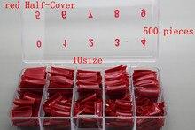 Free Shipping 10size 500pcs/box red Half-Cover False Nail False Nail Tips Fake Nail Good for DIY desing # red - half