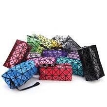 2016 neue Trend Geometrische Reißverschluss Kosmetiktasche Frauen Laser-Diamant Leder Make-Up Tasche Damen Kosmetik Veranstalter Hotselling