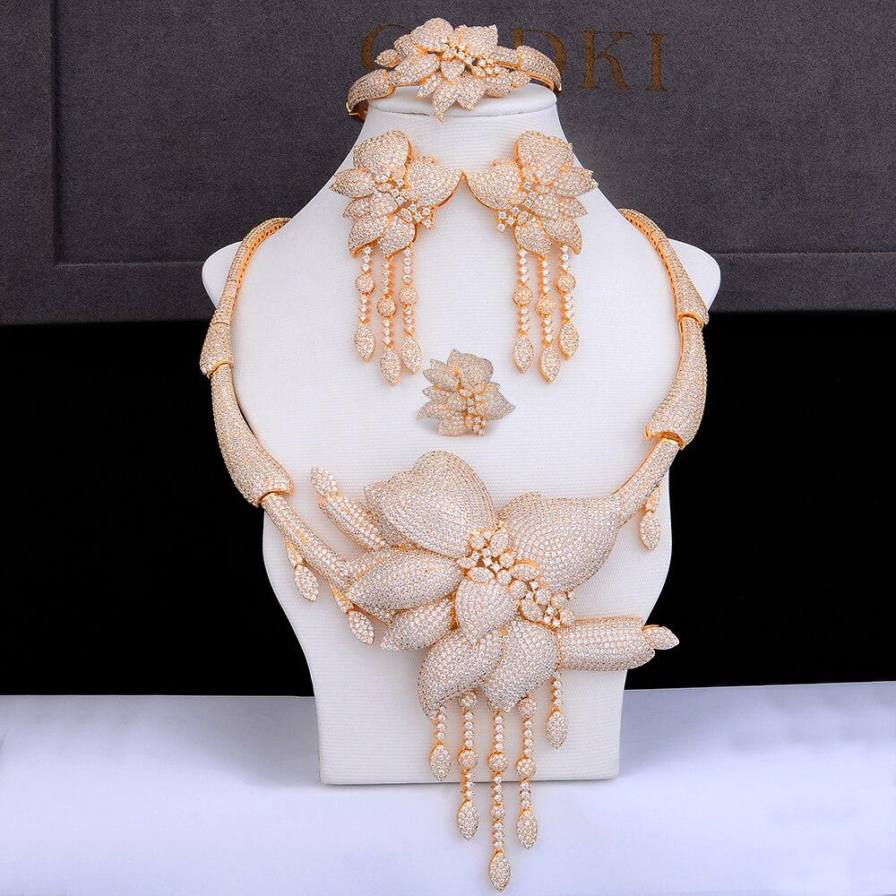 GODKI fleur de luxe glands collier africain boucles d'oreilles ensemble bijoux ensembles pour femmes de mariage Zircon CZ Dubai or ensembles de bijoux de mariée