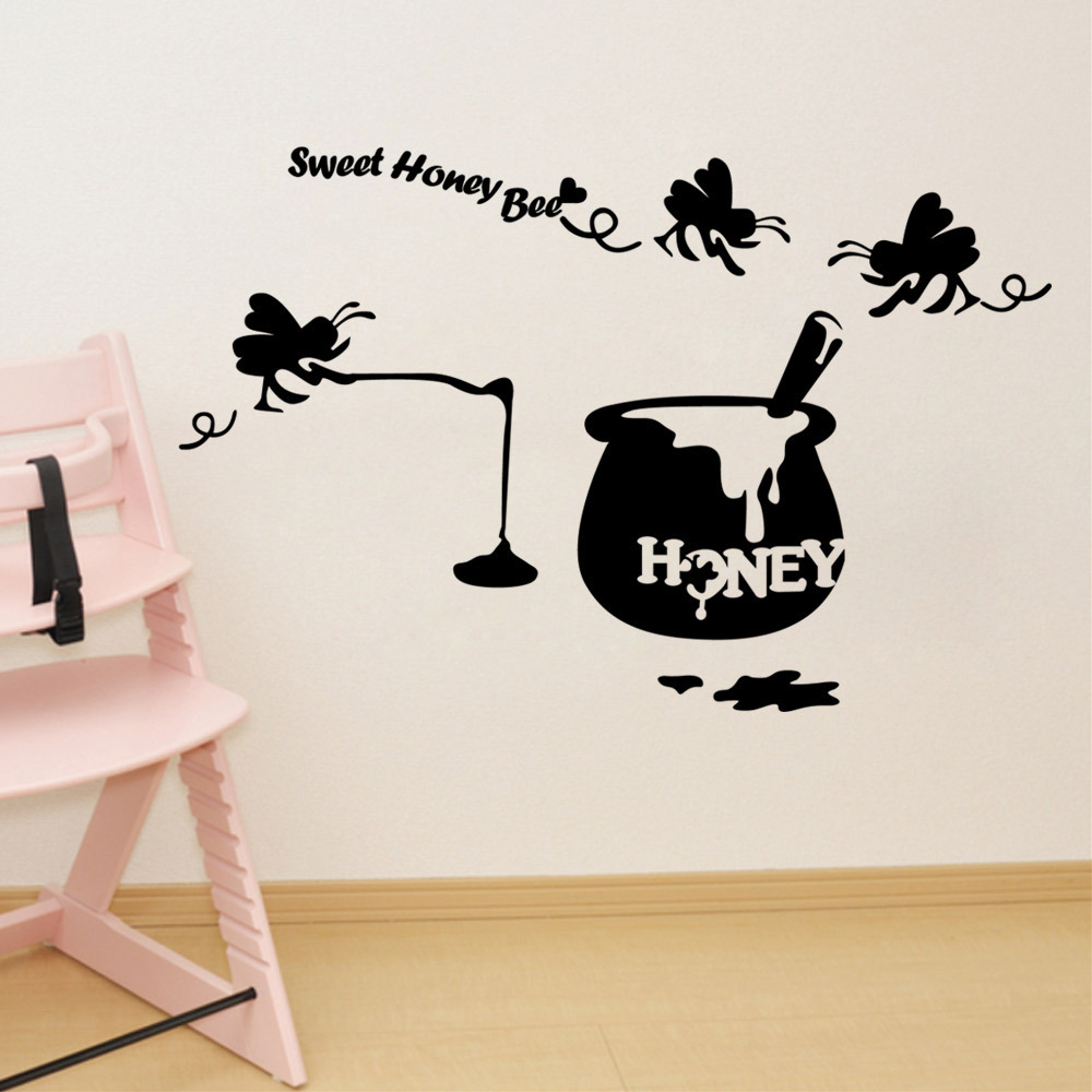 Sweet Honey Bee Creative DIY Wall Decals Removable Black Children Room Stickers Car Sticker Living Home Decor In From Garden