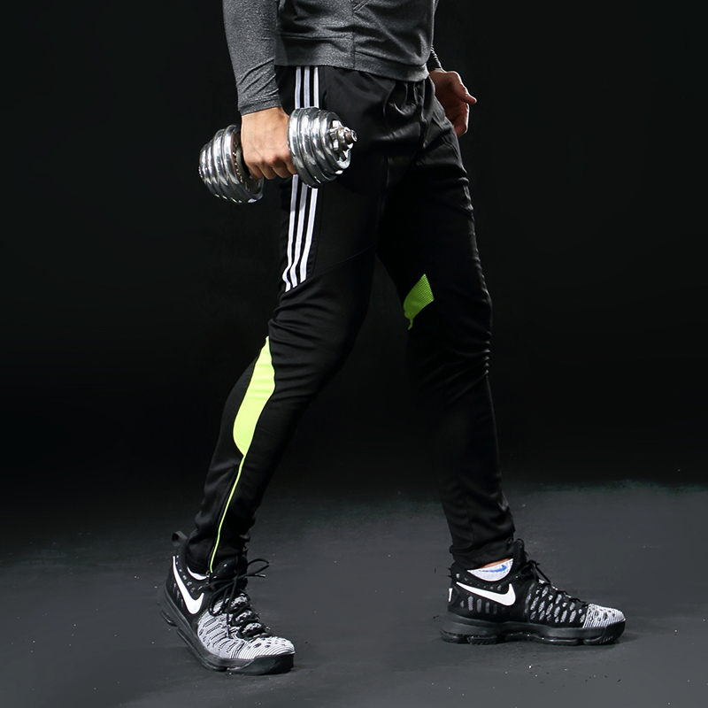 Men Sports Running Pants Pockets Athletic Football Soccer Pant Training Sport Pants Elasticity Legging Jogging Gym Trousers