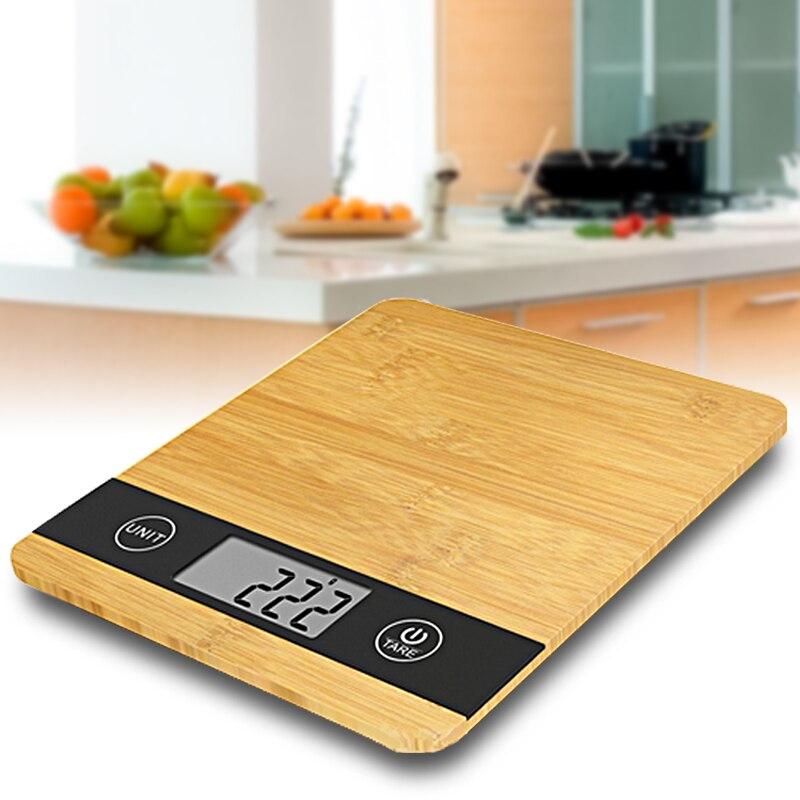 5000 г/1 г HD ЖК-дисплей Дисплей цифровой древесины бамбука Кухня Весы 5 кг многофункциональные электронные весы весы автоматического выключен...