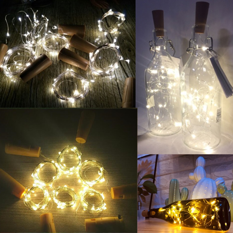 2M LED Garland String DIY Fairy Lights for Glass Craft Bottle New Year Christmas Valentines Wedding Birthday Party Decoration fishtail braid with hair accessory