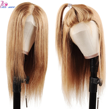 Kiss Mee Color 27 Blonde Lace Front Human Hair Wig Highlight Long Straight Brazilian Remy For Women