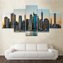 New York City NYC Skyline Skyscraper 5 piece Wallpapers modern Modular Poster art Canvas painting for Living Room Home Decor