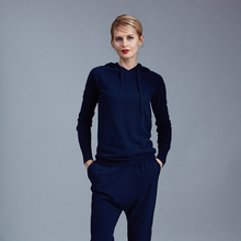 2016 Real Wool Tracksuits 2017 Spring New Cashmere Suit Female High-end Custom Casual Knit Cap Sweater + Harem Pants Two-piece