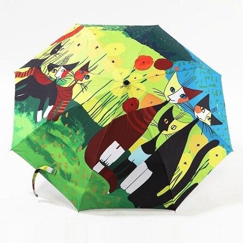 Картина маслом cat узор солнце дождь зонтик дождь женщины 3 раскладной утолщение анти-горячий ультрафиолетовый абстрактный искусство, Артикул 04A1C02