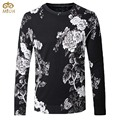 Large Size Floral O Neck National Style Sweater Men XXXL 4XL Brand Clothing Rose Flower Sweaters Black Pullover Men 2017 New