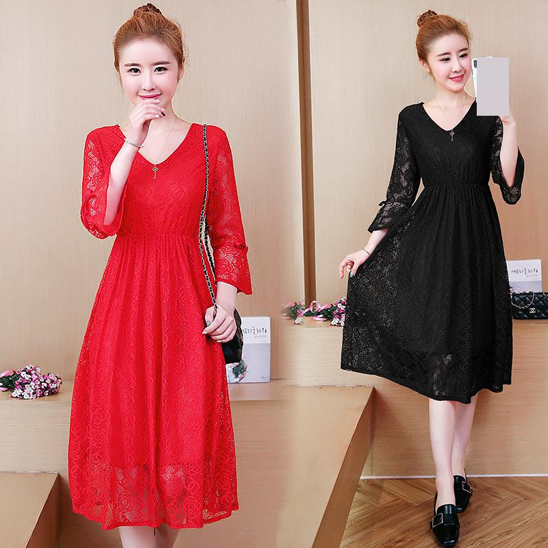 Pregnant Women Dress 2018 New Spring Solid Red Black V-neck Elegant Lace Female Largre Dresses Maternity Woman Clothing 5mc017