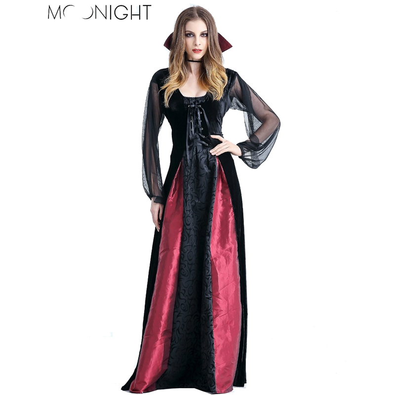 MOONIGHT New Women Witch Costumes Cosplay Gothic Witch Outfit The Queen Witch Role Play Clothing