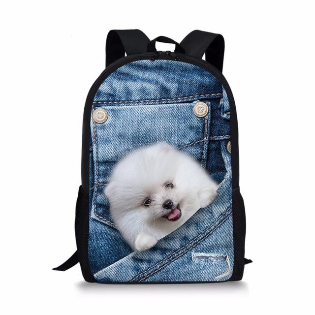 Fashion Cool Printing Denim Cat Dog Backpack For Children High
