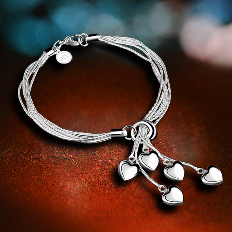 5 Strips Chain Combine Love Heart Pendant Adjustable Plated Silver Bracelet Fashion Cuff Bangle Identify Charm Exquisite Jewelry ...