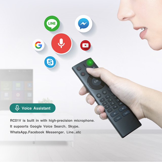 US $13 0 25% OFF|2018 New Design 2 4G Google Assistant Voice Air mouse  Remote Quality Durable for Smart TV/IPTV /Mini PC/Android Set Top  Box/HTPC-in