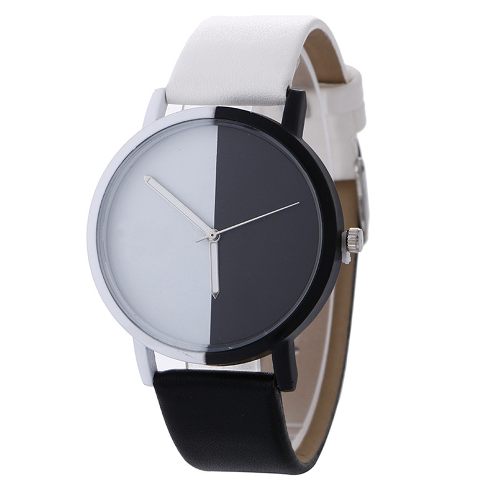 Women Watches Men Clock Montre Femme Neutral Black And White Pattern Fashion Leather Quartz Wrist Watch Dec18 fashion rabbit and grass pattern 10cm width wacky tie for men