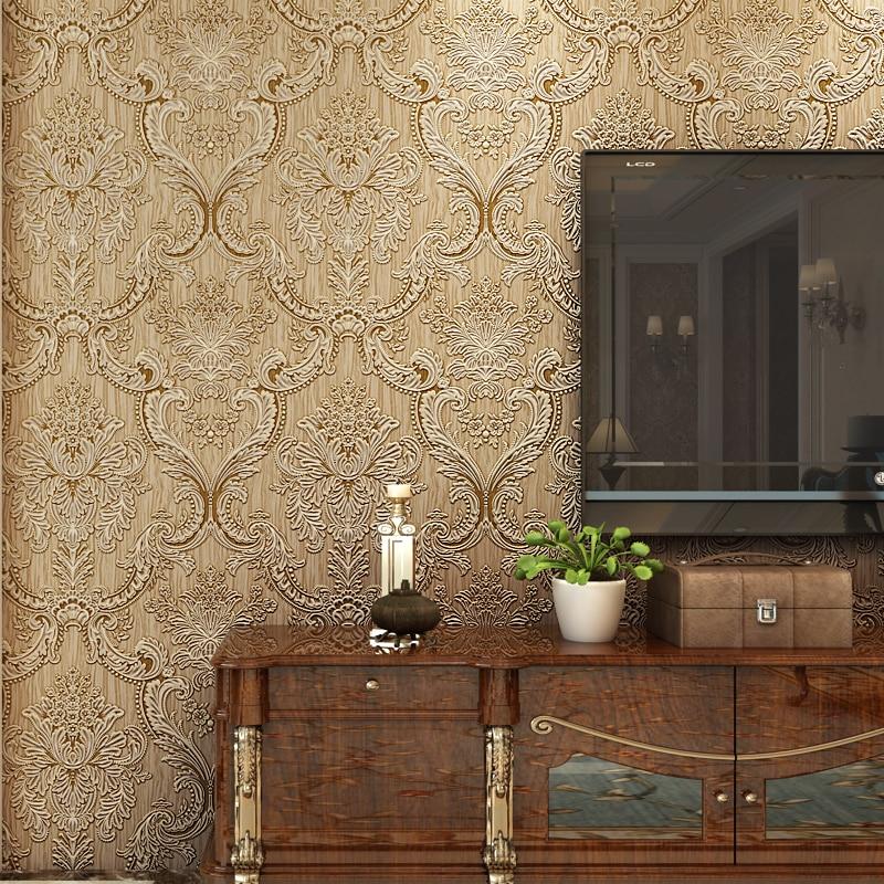 beibehang mural Classic glitter metallic wall paper floral texture ...