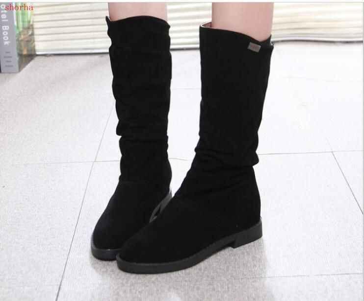 Sonbahar Kış Kadın Çizmeler Mat Akın Çizmeler Kadın Bayanlar Yüksekliği Artan Düşük Topuk Ayakkabı Kadın Orta Buzağı Düşük topuklu Çizmeler