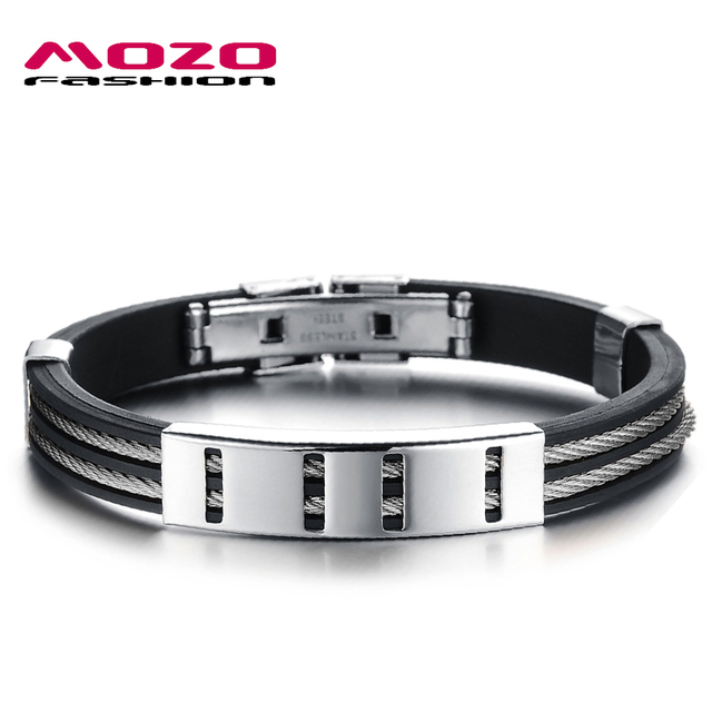 MOZO FASHION Man Punk Jewelry Simple Design Gold/Silver Stainless ...