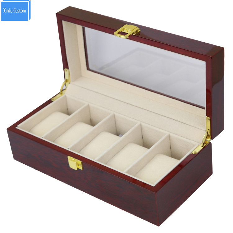 5 Grids Men's Big Watch Box&Case Luxury Wood Glossy Lacquer Display Jewelry Window Top Organizer Jewelry Exhibitor Gift Box Hour watchcase storage luxury 22 slots 2 layer wood glossy lacquer watch box jewelry collection display drop shipping supply