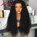 7А Glueless Полные Парики Шнурка Виргинский Бразильский Глубокий Вьющиеся Волосы Парик отбеленные Узлы Полный Шнурок Передние Человеческих Волос Парики Для Чернокожих Женщин