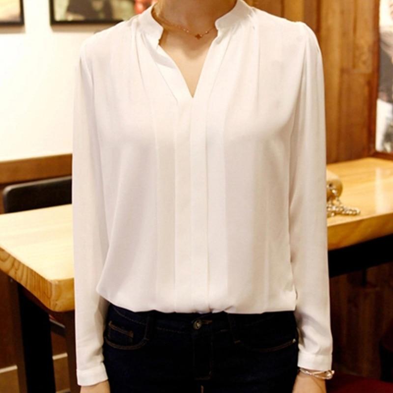 Summer Women Chiffon Blouse Shirts Ladies White Elegant Sexy V Neck Blouse Long Sleeve Shirt Female Office Shirt Plus Size In Blouses Shirts From