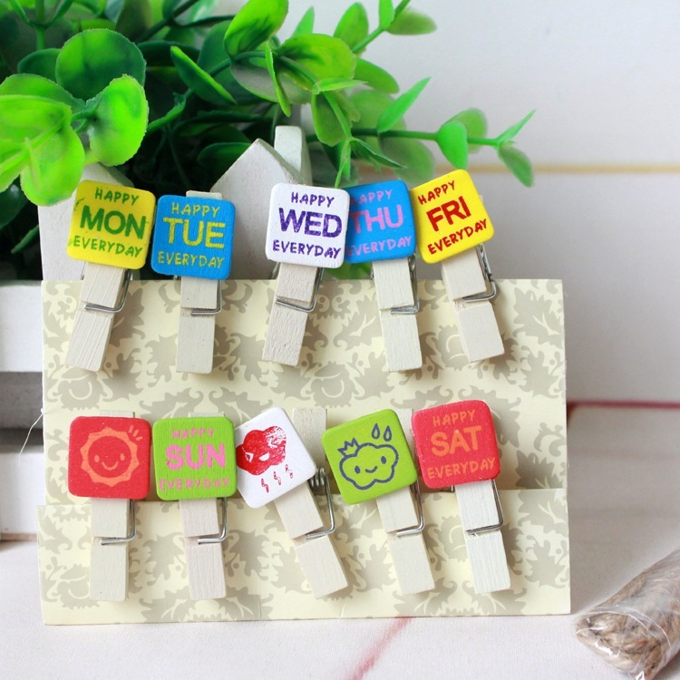 10 Pcs/Lot A Week's Weather Wooden Clip Photo Paper Clothespin Craft Clips Party Decoration Clip With Hemp Rope