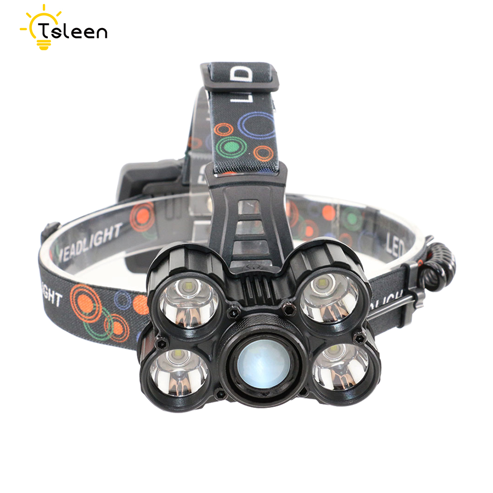 TSLEEN High Lumens 5*Cree XML T6 LED Headlight 3.7V Rechargeable Headlamp Zoomable 3200LM Head Lamp Light With 3x18650 Batteries