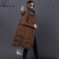Wmwmnu 2017 New Women Winter Jacket Large Silver Fox Fur Collar Hooded Woman Parka Womens Coats