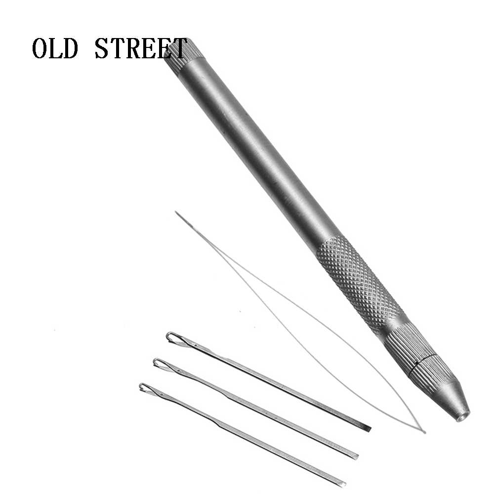 1set Aluminum Hair Crochet Needles Kit 3 Hook + 1 Loop or Lace Wigs Toupee Micro Ring Extension Tool Hook Needle