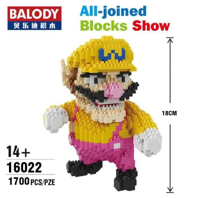 Balody Mini bloques Bowser juguetes de construcción de dibujos animados Mario figuras de subasta ladrillos modelo Yoshi Wario Anime Brinquedos regalos para niños 16022