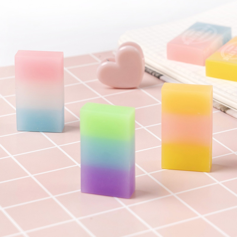 2PC 3-Color Gradient Rainbow Jelly Eraser Rubber Erasers Correction For Drawing Writing School Office Supply Student Stationery