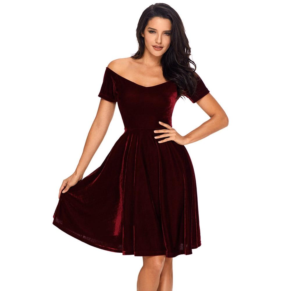 Vintage Velvet Dress Women 50S 60S Sexy Elegant Retro Wine -4386