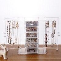 شفافة الاكريليك المجوهرات تخزين مربع درج اصطف مع الفانيلا مزدوج الباب القلائد والأساور 24.5 سنتيمتر * 14.5 سنتيمتر * 28 سنتيمتر