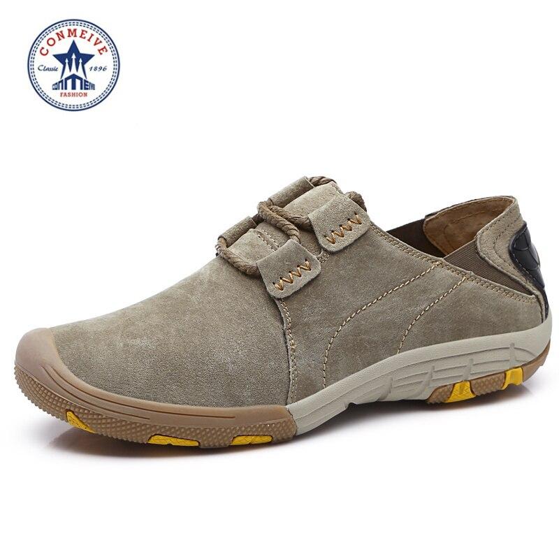 2018 recién llegado de cuero genuino zapatos para caminatas al aire libre caminatas de invierno caza para hombres zapatillas sin cordones zapato para caminar
