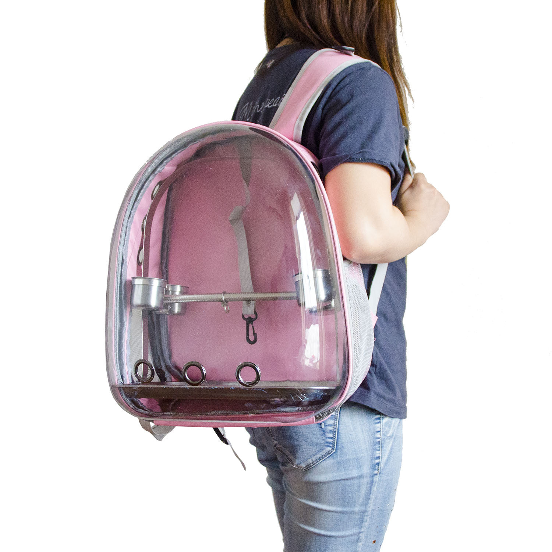 1PCS New Pet Supplies Backpack With Bird Stand Transparent Case Parrot Toys Pet Bird  Travel Bird