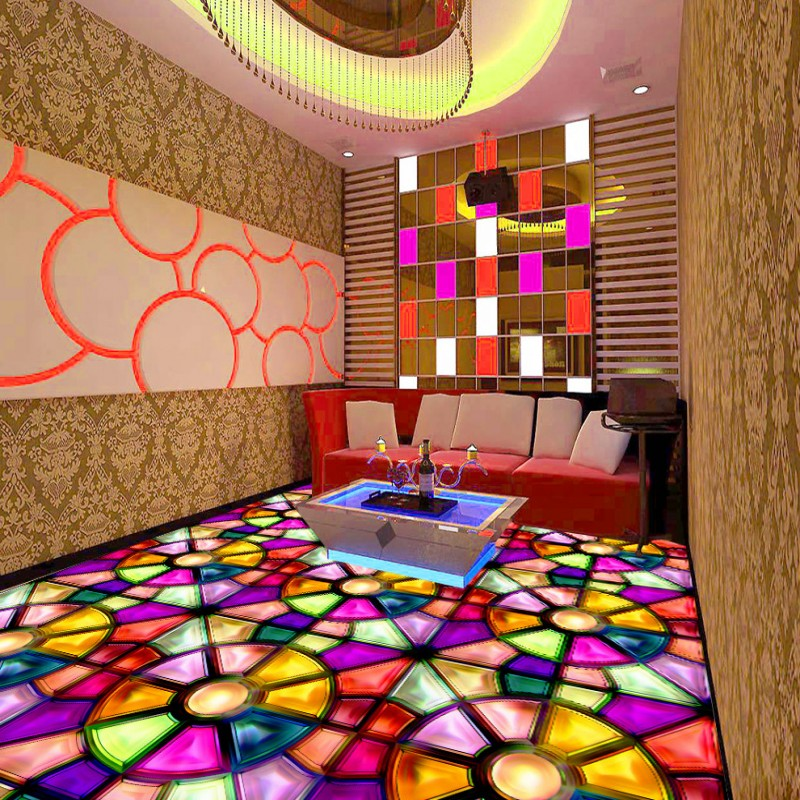 ФОТО Free Shipping Colorful parquet KTV floor stereo non-slip custom moisture bedroom wallpaper thickened lobby shopping mall mural