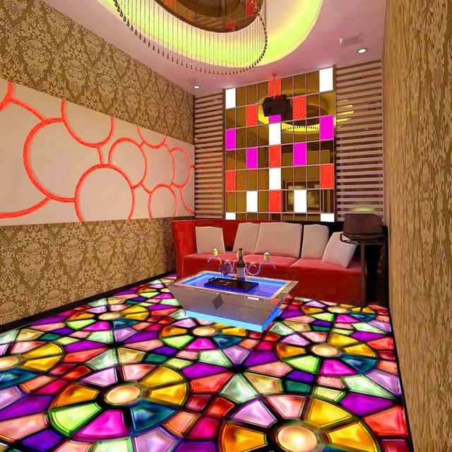 Gratis Verzending Kleurrijke parket KTV floor stereo antislip custom ...