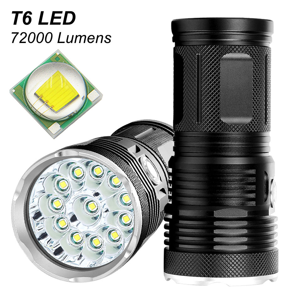 NEW High Power LED Flashlight Searchlight 18 X T6 LED Torch High Lumens Flashlight Waterproof With 4*18650 Battery+charge A1