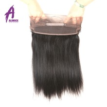 Alimice Pre Plucked 360 Lace Frontal With Baby Hair 100% Peruvian Non-Remy Human Hair Silky Straight Natural Color 10-20inch