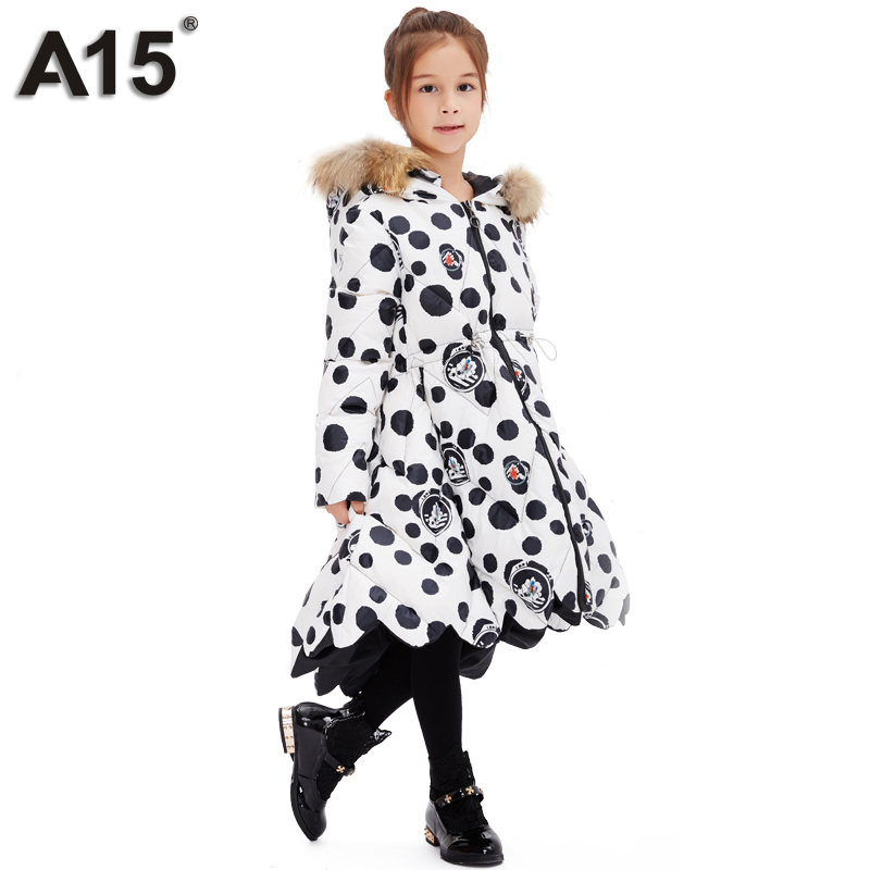 A15 Girls Jackets Toddler Long Hooded Down Jacket Princess Thick Warm Winter Coat Kids 2017 Baby Outerwear Size 3 5 6 8 10 Years a15 girls down jacket 2017 new cold winter thick fur hooded long parkas big girl down jakcet coat teens outerwear overcoat 12 14