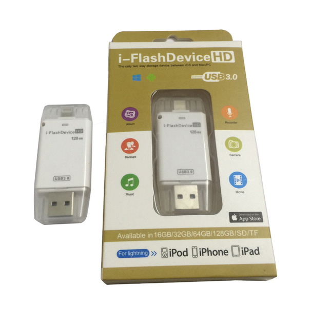 USB 3.0 i-Flash Drive U disk Device Memory stick for iPhone 7 5C 5S 6 6S 6S plus /iPad Air MiNi 5/PC/MAC 8G/16G/32G/64G/128GB