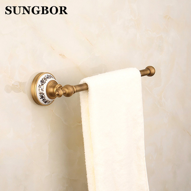 Antique Brass Bathroom Accessory Wall Mounted Single Towel Bar Towel Rail  Rack Holder Bathroom Fitting Free