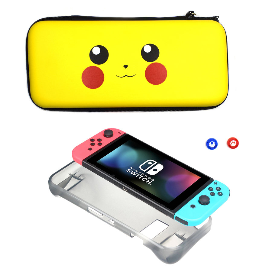 4 in 1 Kit Protective Hard Cover Carrying Case Storage Bag for Nintend Switch Console Joycon &TPU Cases&2 Analog Caps for NS 1