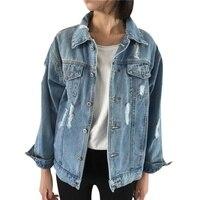 Women Denim Jacket Vintage Long Sleeve Basic Coats Autumn Winter Women Loose Jeans Coat Casual Girls
