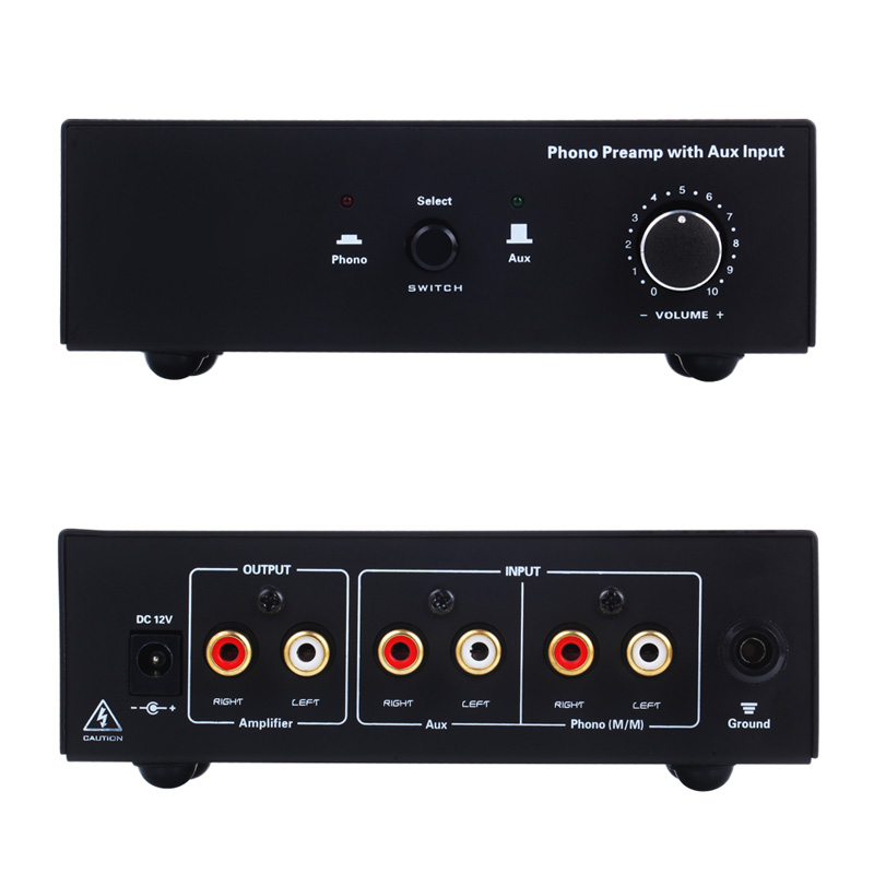 Phono Turntable Preamp Signal Amplifier Prephonograph with Auxiliary Input Volume Control XM66Phono Turntable Preamp Signal Amplifier Prephonograph with Auxiliary Input Volume Control XM66